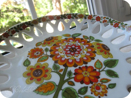 floral orange dish from brasil