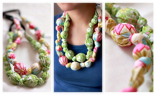 (Our Artful Life) Fabric Ball Necklace