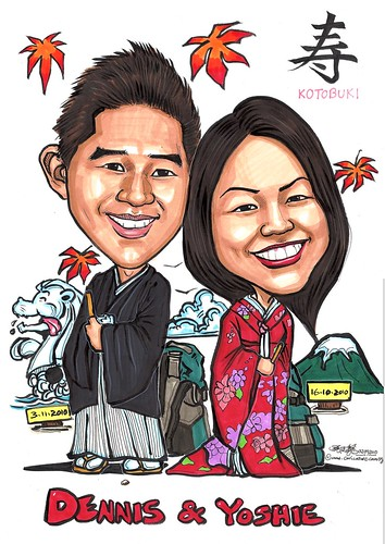 Japanese couple wedding caricatures A3