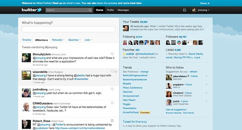 New Twitter Homepage (Mouse over to see my notes about new features, see below to see how the image embed works)