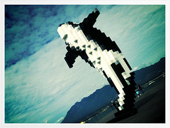 lego whale ;) (jonas stanford) Tags: sculpture vancouver bc lego pixel app 3gs douglascoupland iphone pictureshow vancouverconventioncentre iphoneography digitalorca