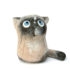 Mel, the Siamese Kitten - felt art toy (fingtoys) Tags: cute wool felted cat kitten blueeyes waldorf siamese felt fiberart arttoy fing catportrait fingtoys