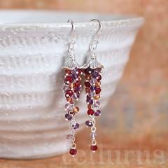 Amaranthine Earrings (beakee) Tags: red orange purple handmade jewelry jewellery lilac handcrafted accessories earrings amethyst ruby sapphire padparadscha tellurus