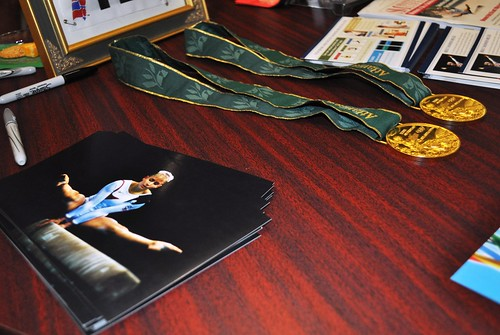 Two-time Gold Medalist Shannon Miller's Gold Medals at Art of the Olympians, Fort Myers, Fla., Sept. 17, 2010