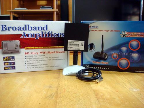 高功率強波器,黑金剛無線網卡,指向形天線與延長基座