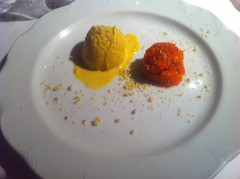 Postre: helado de zanahoria y de pistacho
