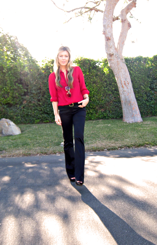 black flared trousers+red blouse+gold accessories+sun+tree+pg