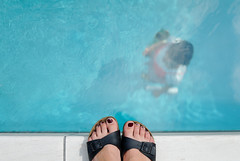 The Swimming Pool (ukaaa) Tags: blue light woman art feet water pool girl japan museum century swimming back sandals contemporary under 21st topdown nippon birdseyeview kanazawa nihon