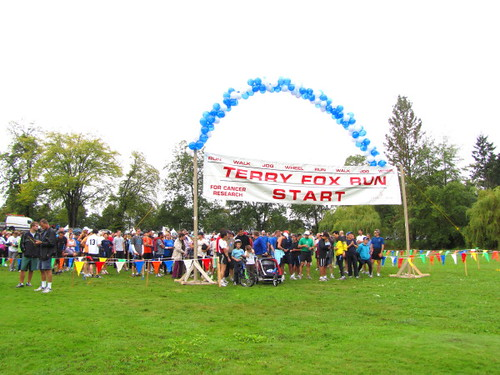 Runers eager to begin at the starting line. Vancouver's Terry Fox Run 2010 Re-ignites Marathon of Hope at 30th Anniversary in Stanley Park.