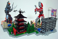 Ultraman Vs. Baltan! (Lino M) Tags: cars architecture japanese lego action jets airplanes helicopter lino diorama ultraman baltan mrsparkle biginjapan