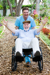 Disabled Senior - Having Fun (naturalhomecures34) Tags: man male nature senior hat smiling garden beard fun outdoors happy goatee affection path wheelchair joy grandfather excited hospice patient professional medical help mature together devotion disabled laughter nurse caring relaxed retired companion job aging healthcare mulch retirement handicapped illness dementia nursinghome vandyke caucasian orderly grayhair alzheimersdisease assistedliving caregiver