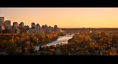 Calgary Autumn Evening (Surrealplaces) Tags: autumn calgary fall skyline downtown cityscape rockymountains bowriver
