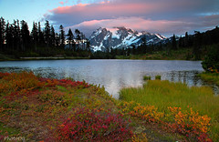 Mount Shuksan and Picture Lake at Sunset, Mt. Baker-Snoqualmie National Forest, Washington USA (PhotoDG) Tags: mountshuksanandpicturelakeatsunset mtbakersnoqualmienationalforest washingtonusa mountshuksan picturelake sunset landscape reflection colour color nature park fall season eos5dmarkii ef24105mm ef24105mmf4lisusm whatcom sep leaf colorsoffall fallfoliage foliage blueberry