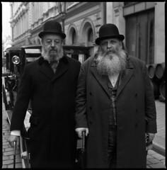 The Gentlemen (ToWinIsNice) Tags: street old 1920s portrait blackandwhite man men 120 6x6 film hat cane beard photo prague hasselblad gentlemen