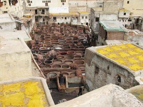 モロッコのフェズの革工房