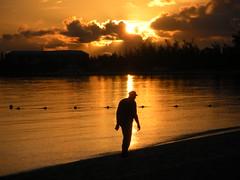 Long Walk on the Beach (jleathers) Tags: beach silhouette sunrise walking walk bahamas nassau cablebeach