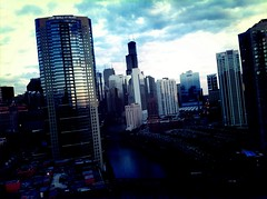 Evening approaches (swanksalot) Tags: city chicago skyline buildings cityscape dusk chicagoriver iphone rivernorth swanksalot sethanderson