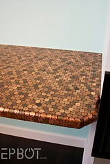 Penny-covered desk