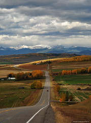 Country Roads (Photography Through Tania's Eyes) Tags: road canada mountains lines sign rockies countryside photo nikon photographer farm picture photograph alberta goinghome speedlimit hay bails km countryroad okotoks copyrightimages taniasimpson headingtobritishcolumbia