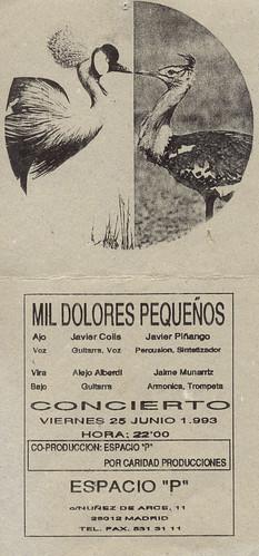 """Flyer de Mil Dolores Pequeños en el Espacio """"P"""""""
