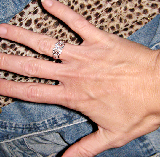 hearts ring on hand