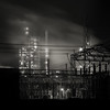 Refinery (Jeff Gaydash) Tags: longexposure blackandwhite industry architecture night square rouge industrial detroit refinery px3 nd110 criticalinfrastructure artifakts 52monochrome
