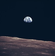 Earth Rise as Seen From Lunar Surface