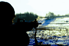 Smoking hot (Kriffster) Tags: winter snow training canon denmark eos vinter forrest military guard national danish scouts danmark kristoffer dansk sne militr velse skov 500d kriff overvgning jgerspris hjemmevrnet brsting motoriseret