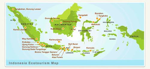 印尼生態旅遊據點分佈。出處:Indecon網站