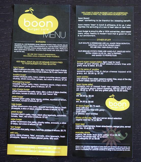 Boon Burger Cafe Menu