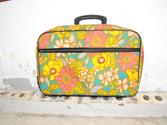 psychedelic suitcase! (Tiffany Villalpando) Tags: vintage bag antique luggage psychedelic suitcase seventies sixties