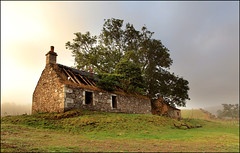 Kercock Bothy (angus clyne) Tags: wood autumn roof cloud mist building tree fall