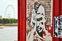 victoria embankment (Jennie Filer Photography) Tags: london art water thames river nikon londoneye posters riverbank embankment phonebox victoriaembankment d90 project365 nikond90