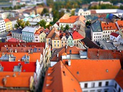 Hradec Krlov (radimersky) Tags: from old city roof red white building tower landscape miniature europa europe cityscape republic view czech shift historic z maker tilt dach stecha tenement widok republika miasto tiltshift mesto hradec ceska bl biaa czechy gf1 dachy krlov wiea kralove cityspace v stechy kniggrtz