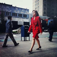 Sleepwalking... (antonkawasaki) Tags: newyorkcity portraits candid streetphotography squareformat sleepwalking 500x500 broadwaynyc iphone4 iphoneography antonkawasaki crossprocessapp womaninredsuitjacketandskirtwalkingwitheyesclosed mobilephotogroup