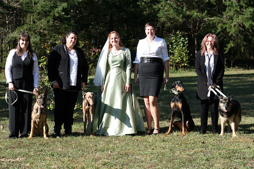The Bride and Her Hooligans, a line up of women and dogs.  I am in the center, on each side of me is one Doberman and one German Shedder.  Christine, on the left of me, looks like she might be about to kick someone's ass, and she didn't have nearly as many pictures of her taken that morning as I did.