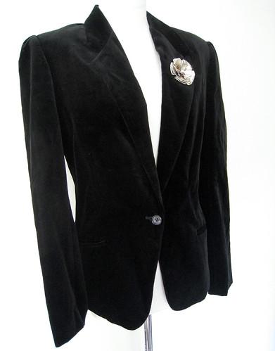 Vintage Classic Black Velvet Blazer Jacket