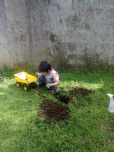 Trabajando en el patio