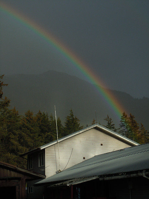 rainbow over City Hall, Kasaan, Alaska