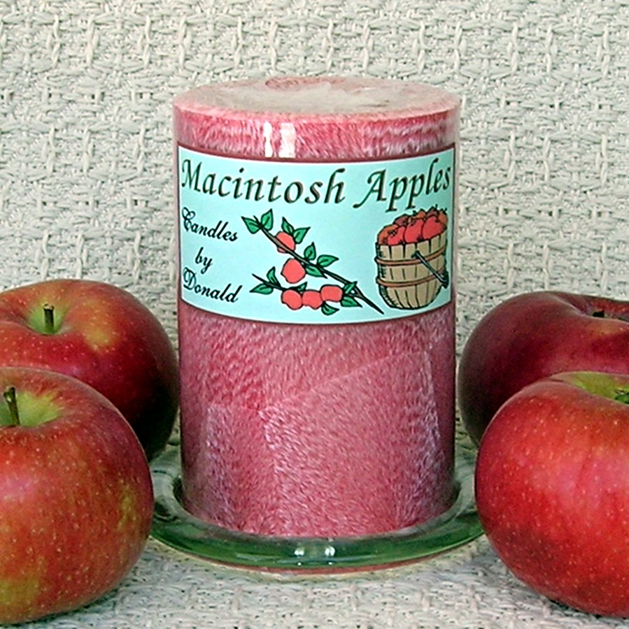 Macintosh Apples scented Handmade Natural Palm Wax Pillar Candle
