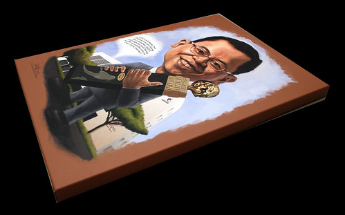 digital caricature Ministry of Manpower printed on A2 size stretched canvas
