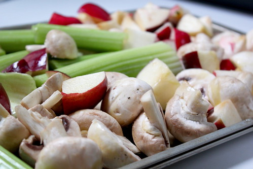 apples, mushrooms, celery