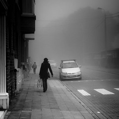Indistinct moment (Gilderic Photography) Tags: street city urban woman white mist cinema black car silhouette fog lumix europe raw noir mood child belgium belgique belgie perspective panasonic story avenue cinematic rue liege blanc brouillard brume trottoir lightroom peville gilderic superaplus aplusphoto dmclx3 grivegnee