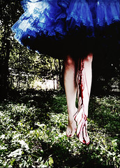 desire and disgust (::fotorosso::) Tags: blue shadow red selfportrait me grass contrast blood levitation dancer virgin tricks gore bleeding float tutu thepixies ibleed 525of2010 515oftwentyten takethisasyouwill