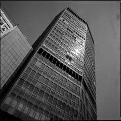 \/-| (OverdeaR [donkey's talking monkey's nodding]) Tags: street bw 120 6x6 film architecture modern buildings mediumformat square 50mm serbia style ps scan bronica stuff scanned belgrade beograd sqa srbija f35 orwo 5035 nd4 np22 zenzanon 100ei