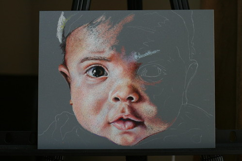 In progress colored pencil portrait entitled Zen.