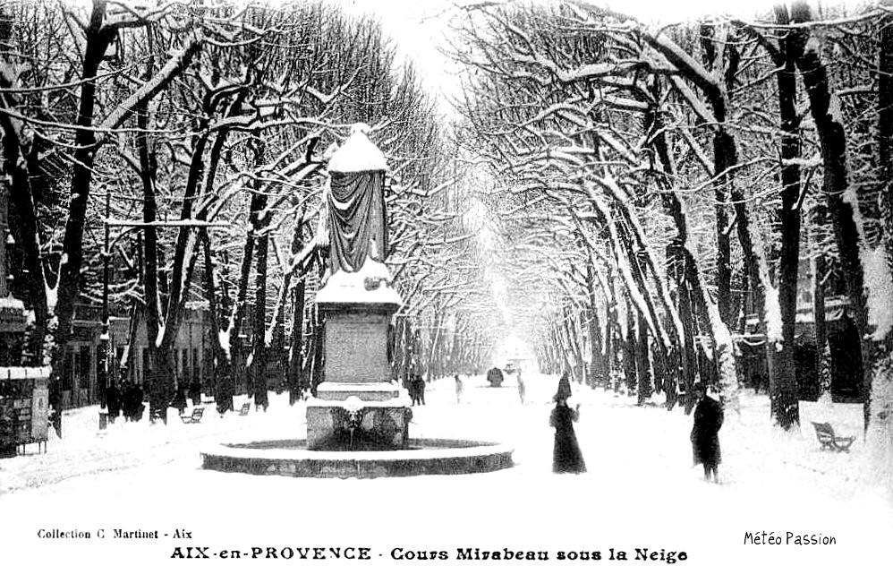 cours Mirabeau à Aix en Provence sous la neige en janvier 1914