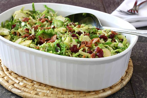 Shredded Brussels Sprouts with Bacon, Cranberries & Pecans Reicpe