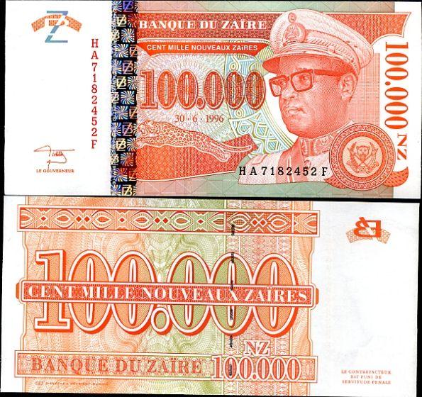 100 000 Noveaux Zaires Zaire 1996