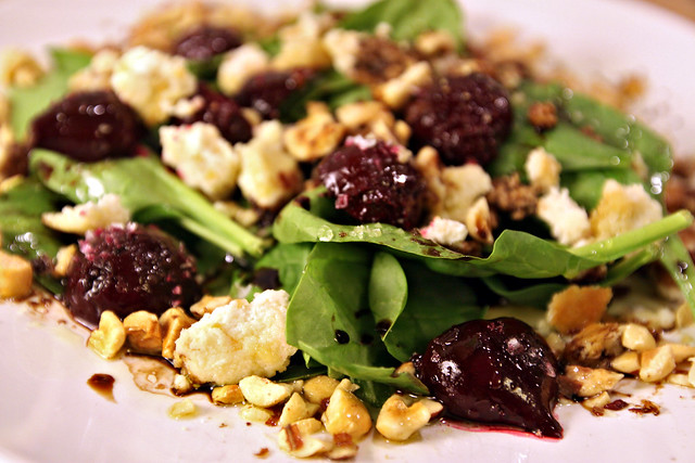 Spinach, roasted baby beet, hazelnut and feta salad